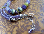 Amethyst & Artisan Lampwork Necklace Sterling Chain Bali Silver Jewelry Purple Lavender Spring Green Necklace *Lilacs in Springtime Necklace