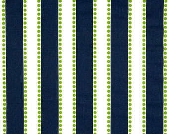 Striped Awning Valance - Scalloped Edge- Navy and Green Dot Indoor Awning Canopy Curtain