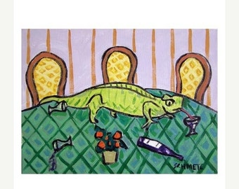 ON SALE Lizard at the Reception Reptile Art Print