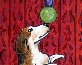 ON SALE Beagle Balancing Act Dog Art Tile Coaster