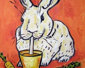ON SALE Bunny Drinking Carrot Juice Rabbit Art Tile