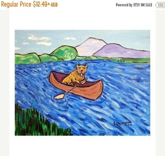 ON SALE Pit Bull Terrier Riding a Canoe Dog Art Print  gift JSCHMETZ modern abstract folk pop art american Art