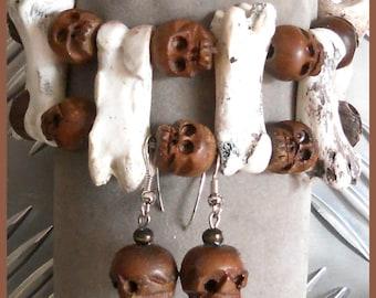 Bones and wooden skulls set