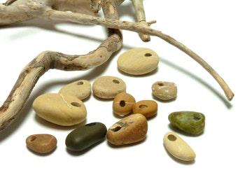 SALE Beach Stone Top Drilled Set Pebbles Natural River Rock Lake Stone Beads Charms Pendants Dangles Green Gold Bedrock LEMONGRASS MIX