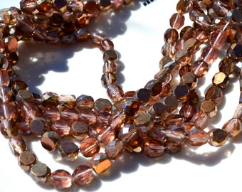 Copper Rosaline 8mm Coin Fire Polish Round Beads 25