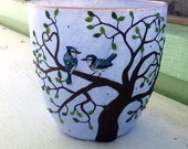 Two Blue Jays in a in a Valentine Heart Tree Sculpted onto a Recycled Glass Candle Holder in Periwinkle Blue