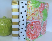 "2"" MINI oilcloth binder cover // 2 inch half sheet planner dayplanner recipe organizer A5 three ring calendar // chevron stripe floral dot"