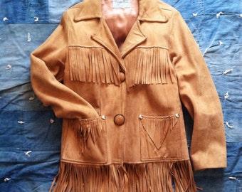 Vintage Western Fringed Suede Leather Jacket