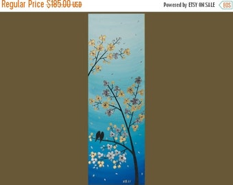 "36"" Original Modern Abstract Impasto Palette Knife Acrylic Painting Landscape Tree Love Birds Wall Decor ""Serenade"""
