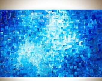 """Contemporary wall art abstract art blue canvas art blue home decor office decor painting on canvas mixed """" Healing"""" by qiqigallery"""