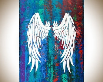 "Angel's wing painting original artwork large Colorful wall art canvas art red white green blue purple ""Angel's Wings"" by qiqigallery"