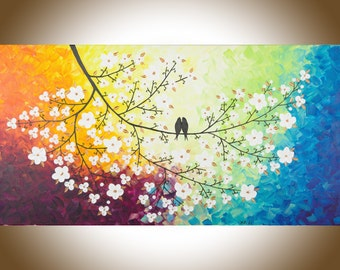 "Rainbow color art Original oil painting birds art white flower tree copper leaves Wall art wall decor canvas ""Color of love "" by qiqigallery"