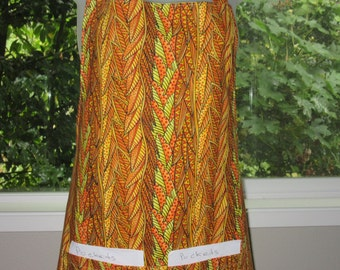 aprons for women - womens aprons - full apron - tribal leaves
