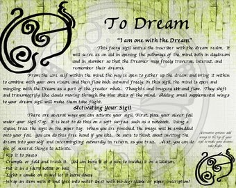 Faery DREAM Glyph SIGIL, Instant Download Page Urban An Leabhar Book of Secrets, BOS, Glamerie Pages,