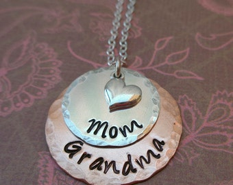 Mom Grandma Necklace with Heart Mothers Day Hand Stamped Silver Copper Necklace- S230