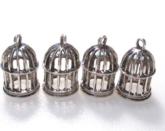 50% Off 6 Bird Cage Charms Antique Silver Tone C1055 F16