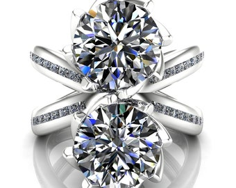 4 Carat 2 Diamond Engagement Ring with X Cross Band