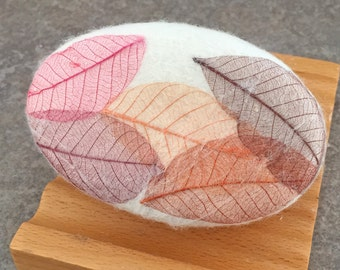 Felted Soap with a Fall Leaves Embellishment in a Apples and Oak Fragrance
