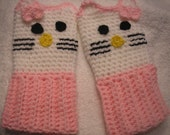Crochet Hello Kitty Fingerless Gloves with Pink trim