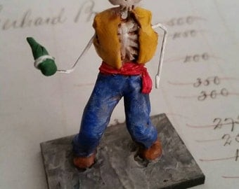 Day of the Dead matchbox shrine figure el Borracho the Drunkard