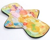 """9"""" MEDIUM flow Reusable Cloth Menstrual pad -bamboo/cotton core - Windpro - quilter's cotton top in """"Butterfly Bubbles"""""""