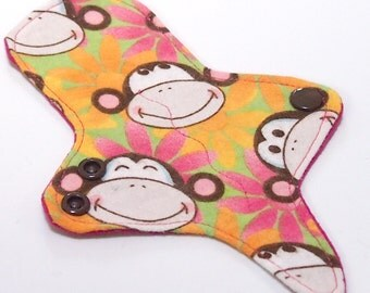 ULTRATHIN Reusable Thongliner Cotton Flannel Mini Pad with wings for Every Day - Washable Cotton Flannel - Funky Monkey