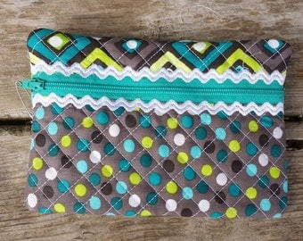 Grey Turquoise Zipper Pouch