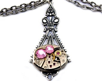 Rose Pink Steampunk Necklace Fuchsia Steampunk Jewelry Swarovski Crystal Steam Punk Pendant Designed by London Particulars
