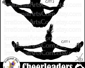 Cheerleader Jump Toe Touch Silhouettes - 2  png digital graphics 2 - cheerleaders clipart graphics stunt cheer spirit [INSTANT DOWNLOAD]