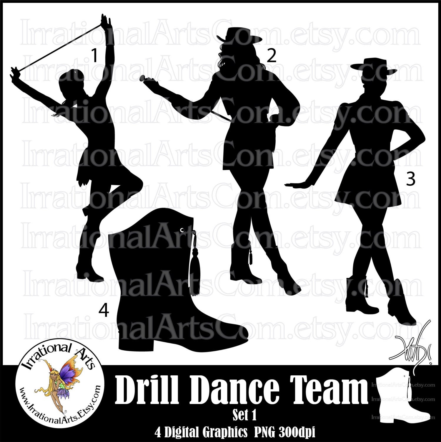 Drill Dance Team Silhouettes set 1 4 png digital graphics