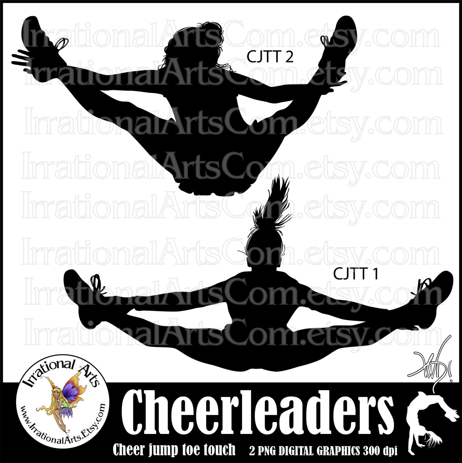 cheerleader jump toe touch silhouettes 2 png digital