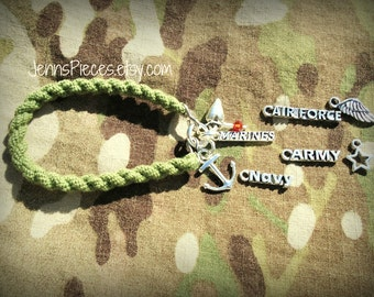 BRACELET Army Air Force Navy or Marines Boot band Blouser SSG14 Usmc National Guard airman soldier sailor girlfriend wife deployment kuwait