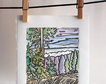Colored Landscape Linocut-Trees Grass Sky HandPainted Mountainscape