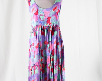90s Colorful Sleeveless Empire Dress