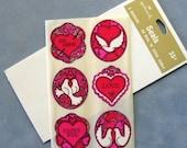 Pre Holiday Sale - Gorgeous Vintage Hallmark Valentine Peel n Stick Seals, Stickers, One Sheet of Six