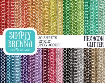 Rainbow Hexagon Glitter Paper Pack, Colorful Glitter Digital Paper, Digital Paper, Glitter Paper, Personal Commercial Use, INSTANT DOWNLOAD