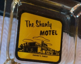 VINTAGE GLASS ASHTRAY, advertising, collectible, Shanty Motel, smoking accessory