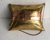 Vintage 70s Brass and copper purse, Gypsy Boho Bag