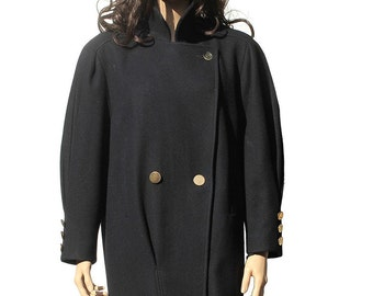 Vintage Women's Navy Blue Wool Jacket / Double Brest Coat
