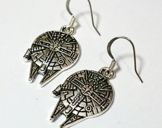 Millennium Falcon Spaceship Star Wars Silver Dangle Earrings