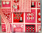Retro and Fun Button Card Purse or Bag in Reds and Pinks