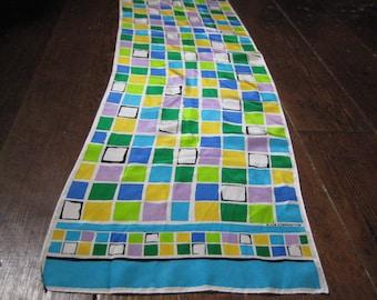 Liz Claiborne oblong silk scarf bold colorful blocks