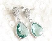 Light Blue Bridesmaid Earrings, aqua, aquamarine bridesmaid jewelry, bridal party, Glass Earrings, wedding earrings, bridal earrings