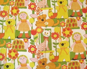 2.5 Yards Vintage Cotton Twill Fabric with Screenprinted Retro Kids Design
