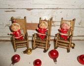 Vintage Elf Christmas Ornaments, Rocking Chair Christmas Ornaments