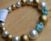 Gold and Pearl Muertos Bracelet