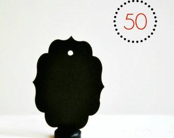 SALE Chalkboard Tags {50} Bracket Black Blank Favours Merchandising Labels Events Wedding Engagement DIY Supplies