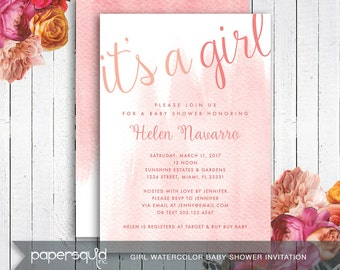 Watercolor Baby Shower Invitation, Girl or Boy, Personalized with your information - Digital DIY Printable File -  Item 171
