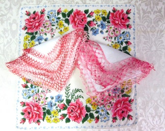 Vintage Pink Handkerchief Hanky Hankie Lot Roses and Lace Crochet