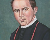 Saint Bishop John Neumann Wonder-Worker of Philadelphia Original Acrylic Painting, on 15 3/4 X 21 3/4 Canvas Catholic  Art,